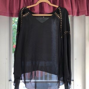 Black with Grommets Flair Top - New without Tags